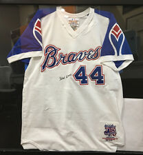 HANK AARON SIGNED AUTOGRAPHED JERSEY HOME RUN KING 630/715 THROWBACK
