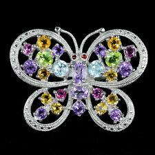 L1 Amethyst Ring Navette Schliff 925 Silber mit Silber Schmetterling Design