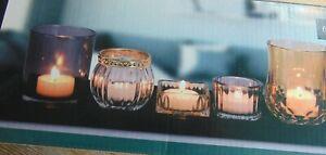 5er Set TEELICHTHALTER Kerzenständer Teelichtgläser Weihnachtsdeco 36 x 12 x 1,5