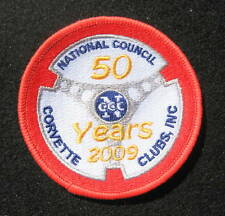 """CORVETTE EMBROIDERED SEW ON PATCH NATIONAL COUNCIL CORVETTE CLUB 50 YEARS  3"""""""