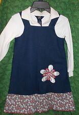 Girls Cheeky Banana denim blue 2 pc jumper dress, size 6X, floral applique, *397