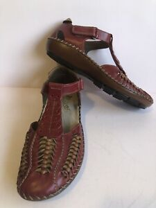 RIEKER Antistress Womens Flat Shoes Dark Red Leather Size 38 FAST POST AUS