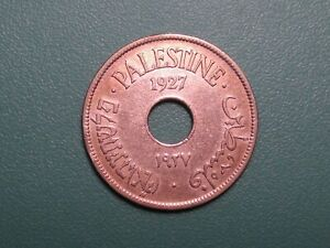 1927 PALESTINE 10 MILS NICE COPPER NICKEL COIN..XF