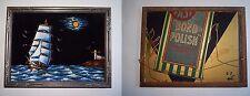 "12"" x 16"" VELVET SHIP LIGHTHOUSE Painting BOND POLISH Ad On Back"