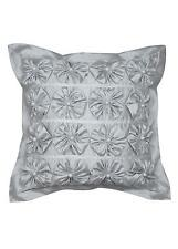 """STUNNING! New PRIVATE COLLECTION """"CAMILLE SILVER"""" Rosettes Square Filled Cushion"""