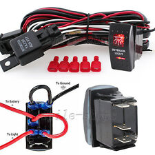 12V On/Off 5 pins Red Interior Light Rocker Switch Kit with Relay Wiring Harness