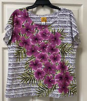 Ruby Rd. Womens XL Cap Sleeve Round Neck Colorful Floral Shirt Top Beads Sequins