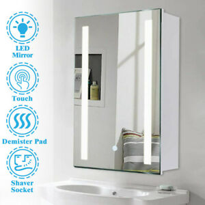 Anti-fog LED Bathroom Mirror Cabinet with Demister Shaver Socket Touch Sensor UK