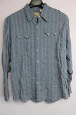 scully mens 100% cotton blue & gray stripe button down long sleeve shirt size L