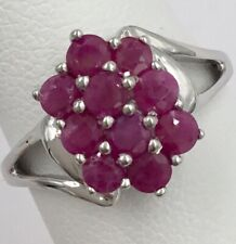 10K White Gold 1.00tcw Ladies Ruby Cluster Ring Size 7