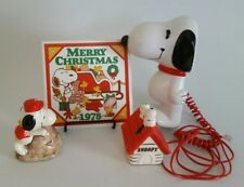 4 Piece Snoopy Lot Collection Phone, Trivet, Rock Climbing Figurine & Dog House
