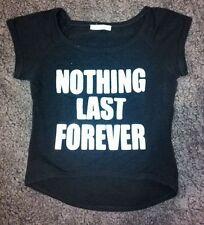 T-shirt maglietta nera cotone goth punk fashion svasata con paillettes Tg Unica