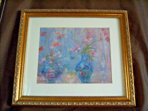 Edna Hibel Floral Still Life Pastel on Lithograph Signed Framed with Glass 14x11