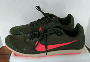 New Men's Nike Zoom Rival D W Spikes Olive Crimson 907566-300 Size 12 Racing