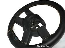 FITS TOYOTA PRIUS 3 2009-2015 BLACK LEATHER STEERING WHEEL COVER BEIGE STITCHING
