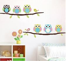 Wall Stickers owl branch birds baby vinyl decal decor Nursery removable decor