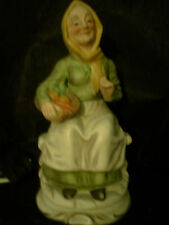 Vintage lefton Figurine Unmarked -80's, Old woman with basket sitting on bench
