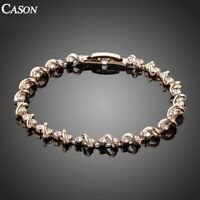 Fashion Nice Austrian Crystal Tennis Bracelet 18K Rose Gold Plated Jewelry Gift
