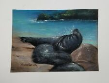 """Original pastel painting """"California Seals"""". Size is 5 x7 inches needs frame."""