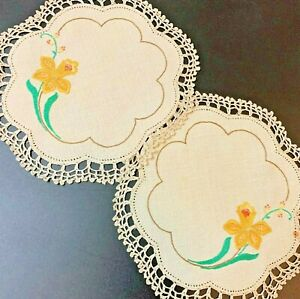 Yellow Daffodils - 2 x Vintage Hand Embroidered Ecru Doilies 21cm Crochet Edging