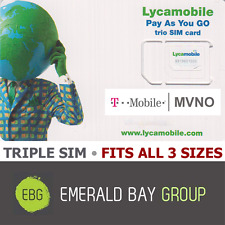 LYCAMOBILE Triple SIM Card MINI + MICRO + NANO • GSM 4GLTE T-Mobile MVNO • NEW