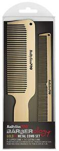 BaBylissPRO GOLDFX Metal Comb 2 Pack Gold BARBERology Babyliss Pro GOLD FX