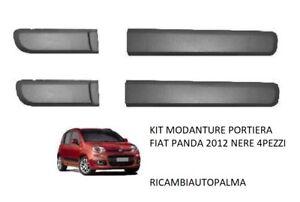 KIT SERIE MODANATURE FASCE PORTA PORTIERA ADESIVE FIAT PANDA 2012 NERE 4 PEZZI