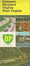 1970 BP OIL Road Map DELAWARE MARYLAND WEST VIRGINIA Richmond Washington DC