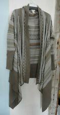Sundance Catalog XL Cascading Knit Cardigan Sweater  Fair Isle Taupe Very Pretty