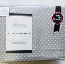 Tommy Hilfiger Gray Polka Dots Queen Bed Flannel Sheet Set White grey Cotton New