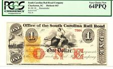 South Carolina Charleston Rail Road $1 18Xx Pcgs 64 Ppq- Very Choice New-