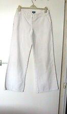 OASIS Size 10  WHITE LINEN BLEND LOW RISE JEANS 60% COTTON  40% LINEN