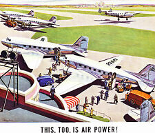 1943 WWII Ad ~ AIRLINES OF THE UNITED STATES ~Transport Planes are Air Power Too