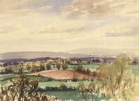 Myles Tonks RI RBA, Extensive Landscape –Early 20th-century watercolour painting