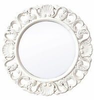 Vintage Ornate Shabby Chic White Wood Round Wall Mirror Distressed Effect Frame