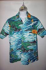 RJC Hawaiian Shirt Mens L Vintage Ocean Waves Bold Tropical Print b60