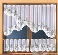 Cafe Net Curtain White 3 Pieces Window Set High Quality Ready Made Panels