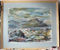 original painting, acrylic Robert Bindloss coastal scene, Cornwall?