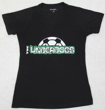 Sport Tek Underdogs T-Shirt Short Sleeve Solid V-Neck Tee Small Black Womens