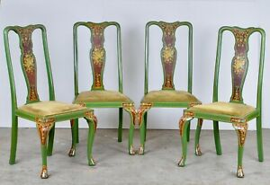 VINTAGE SET OF FOUR HAND PAINTED CHINESE CHINOISERIE DINING CHAIRS