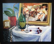 Original Still Life Painting with The Luncheon at the Boathouse by Renoir