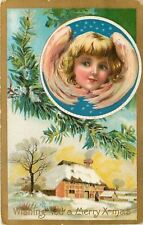 Christmas~Angel Face In Circle~Winter Country Home~Art Nouveau~Gold~Emb~AMP