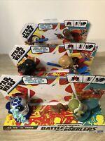 Star Wars BATTLE BOBBLERS Lot of 3 R2-D2 vs Yoda Vadar vs Luke Porgs vs Chewie
