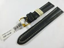 GENUINE Morellato Leather 20mm Black Watch Strap Gold Buckle RRP £29 m1