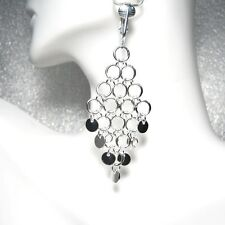 "CLIP ON!  SILVER DISC CHANDELIER DROP EARRINGS  2.5"" long  !"