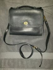 Coach Vintage Black Leather Court Satchell Crossbody Messenger Bag G13-9870