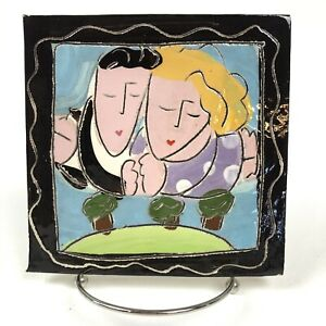 "Sandra Magsamen Original Tile/Plaque ""And They Lived Happily Ever After"" Signed"