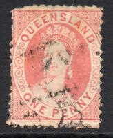 Queensland 1d stamp c1868-78 Used (1543)