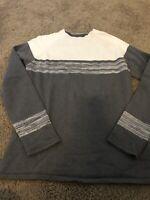 PRANA Women's Sz M Mock Neck Zipper Collar Pullover Sweater Gray Ivory Stripe