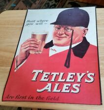 "Tetley's Ales Metal Sign "" Hunt where you will "" 14""x10"""